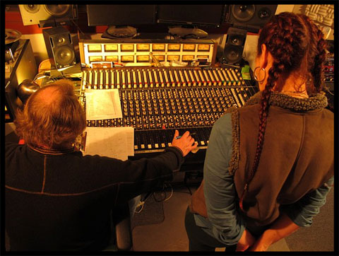 mags and wally at recording console