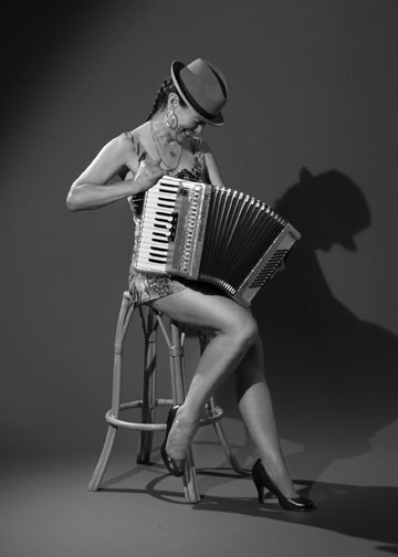 mad mags laughs with accordion black and white photo